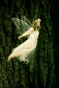 Beautiful forest fairy in fligh